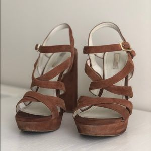 BCBG Brown Suede Strappy Heels
